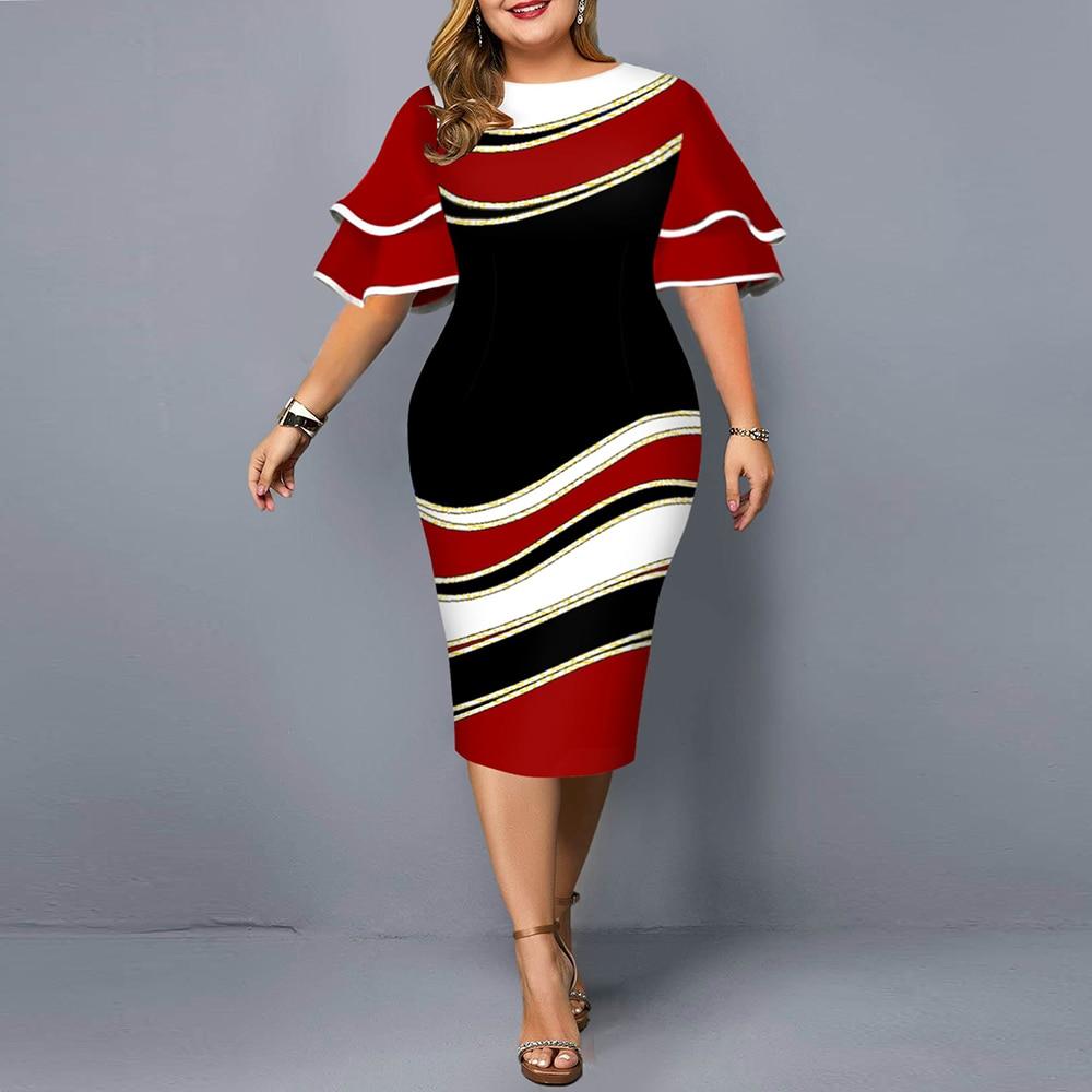Plus Size Dresses 2021 Autumn Elegant Layered Bell Sleeve Evening Party Dress