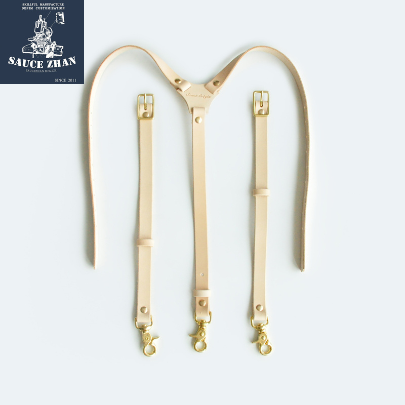 SauceZhan  Men and Women Suspender Elastic Y-shaped Adjustable Suspenders Tirantes Unisex Suspenders Raw Leather Suspenders