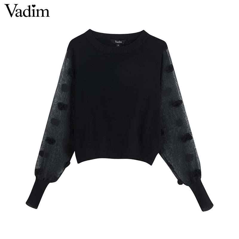 Vadim women stylish patchwork knitted sweaters transparent spliced long sleeve fur ball decoate pullover stretchy tops HA455