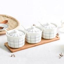 Керамический набор банок для приправ шейкер соли домашняя посуда