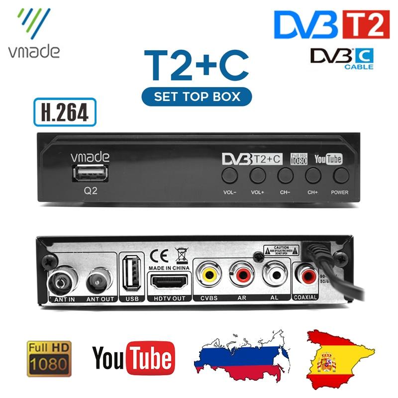 Sintonizador de TV HD H.264 FTA, DVB T2, receptores de TV Digital terrestre, decodificador DVB-C, Combo, compatible con Dobly Youte