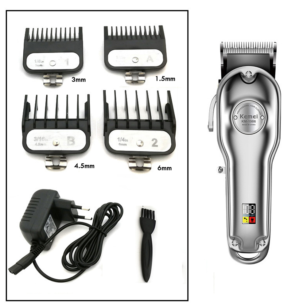 Kemei Barber Professional Hair Clipper Cutter Electric Cordless Hair Trimmer Gold And Silver Hair Cutting Machine 1986 All-metal