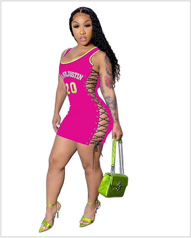 women new sexy bodycon dress summer sleeveless lace up letter print sexy short mini dress female casual dress DHR8009 8