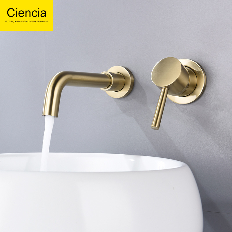 Copper Gold Concealed Wall-in Basin Faucet Toilet Bathroom Table Basin Drop-in Sink Tap Rotatable