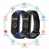 Relógio digital m4 esporte relógio monitor de pressão arterial freqüência cardíaca masculino e feminino pedômetro bluetooth cabo anti perdido telefone celular Relógios esportivos     -