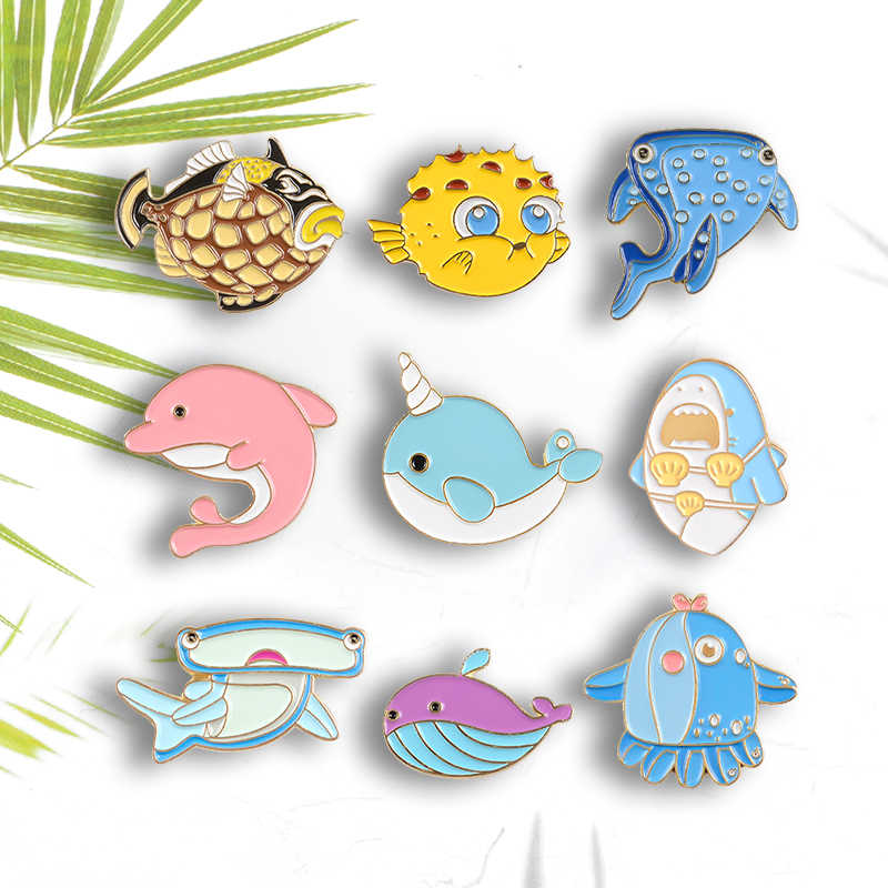 Leuke Mariene leven Pin Walvishaai Dolphin Octopus Taiyaki Narwal Puffer Fish Broches Cartoon Zacht Email Revers Spelden Badges Gift