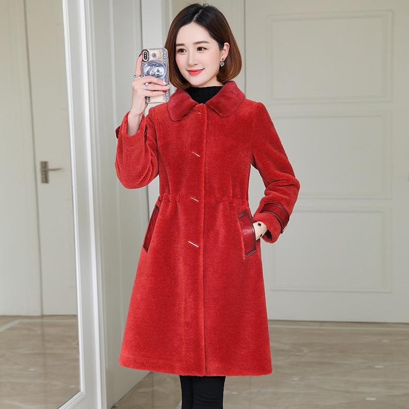 Real Fur Coat Mink Fur Collar 100% Wool Jacket Autumn Winter Coat Women Clothes 2020 Korean Vintage Sheep Shearling Tops ZT3906