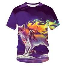 3D fox print T-shirt men and women Harajuku clothing hip-hop fashion tee top cute animal graphics for boys and girls 110/6XL