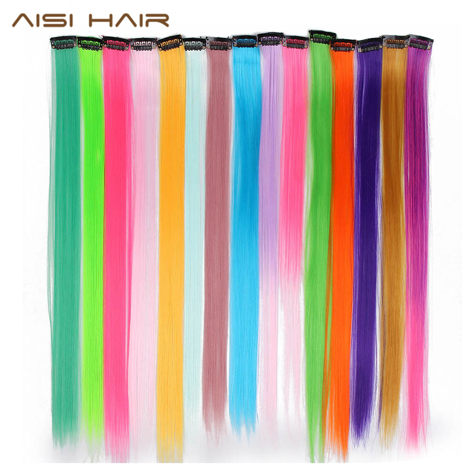 AISI HAIR Clip In One Piece Hair Extensions 20inches Straight Long Synthetic Hairpieces Women Girls Rainbow 45 Colors 8-10G/Pcs