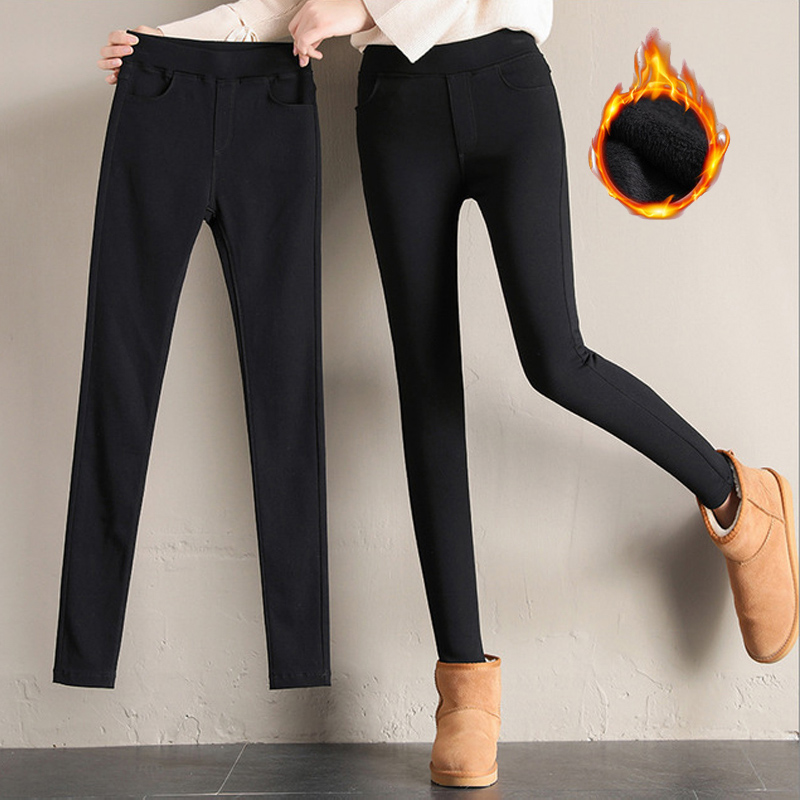 Thick Warm Pants Winter Women Fleece Leggings Black High Waist Thermal Treggins Elasticity Pencil Trousers Plus Size 3XL