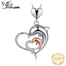 JPalace Dolphin Silver Pendant Necklace 925 Sterling Choker Statement Women Jewelry Without Chain