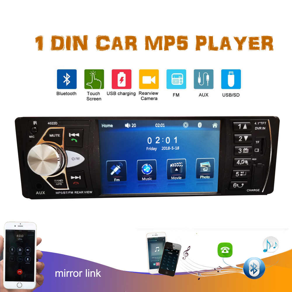 4.1 Inch 12V Bluetooth Mobil Radio 1 Din Mobil Stereo FM Radio MP3 Audio Player 5V Charger USB SD AUX 1 DIN Autoradio Mobil Mp5 Pemain