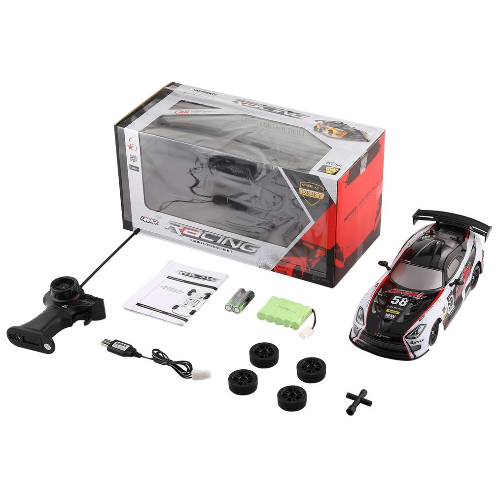 1/16 Waterproof 27MHz 4WD Drifting Remote Control Radio Controlled Car High Speed On Road Racing RTR RC Vehicle Toys