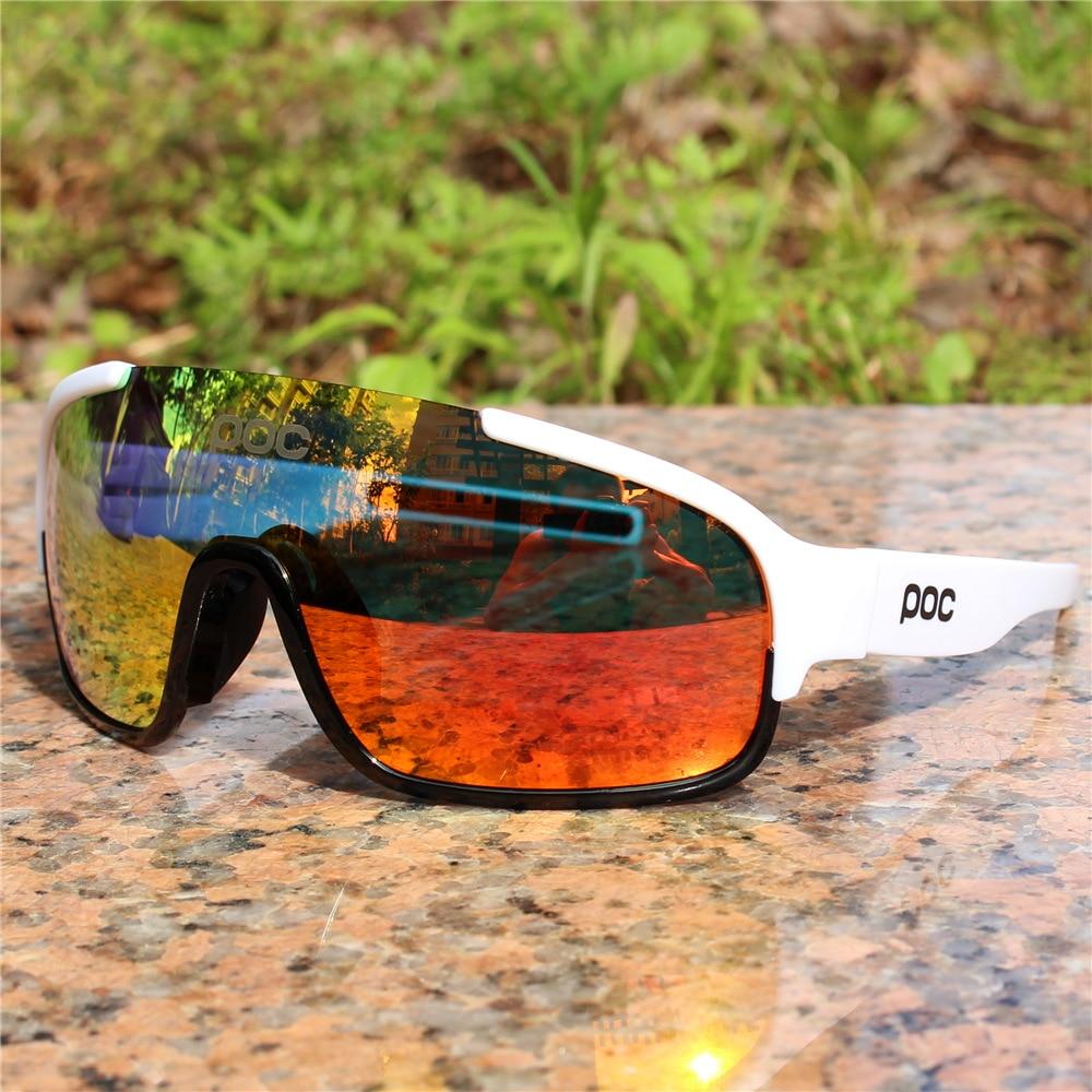 Juego de 4 lentes polarizadas para ciclismo POC para hombre y mujer, gafas deportivas para bicicleta de montaña y carretera