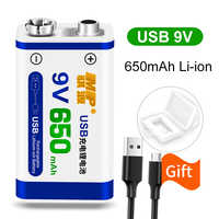 Batería recargable li-ion 9V 6F22 650mAh 9 v Litio para micrófono multímetro juguete Control remoto KTV uso