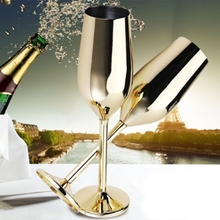 Champagne Glasses Shatterproof Wedding-Toasting Drink-Cup Wine Gold Stainless 2 Flutes