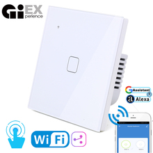 цена на WIFI Touch Light Switch White Glass Panel Blue LED EU & UK Universal Smart Home Phone Control 1 - 4 Gang 2  Way & more 90-240V
