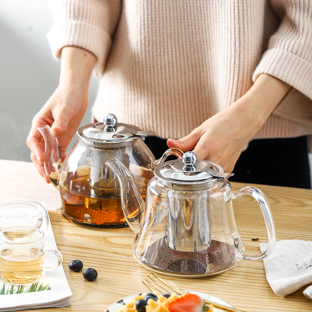 1L Induction Cooker Borosilicate Electromagnetic Glass Teapot 304 Stainless Steel Filter Flower Tea Pot Multifunctional Kettle