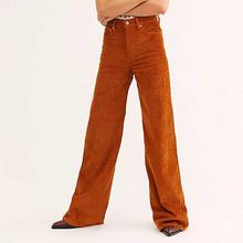 Spodnie z wysokim stanem damskie sztruksowe szerokie z szeroką nogawką zimowe pomarańczowe Vintage kobiece luźne spodnie pełnej długości biegaczy pantalon femme D30 tanie tanio Poliester Zipper fly Mieszkanie 509798 Wysoka Stałe Na co dzień Szerokie spodnie nogi Kieszenie