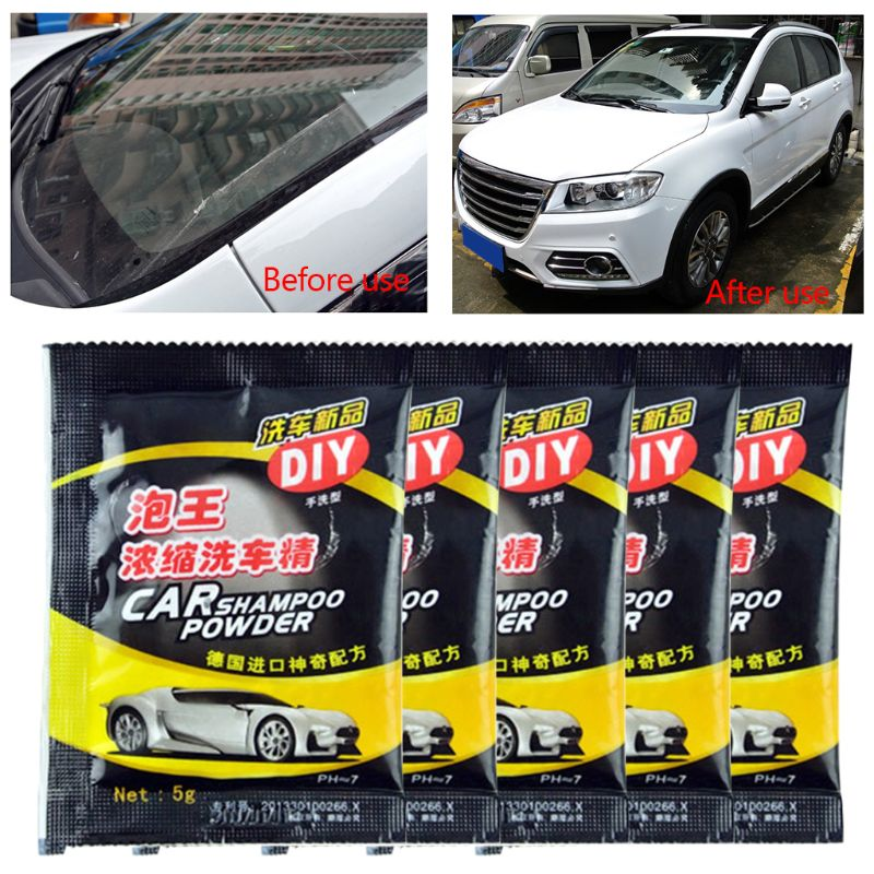 5Pcs Powder Car Wash Shampoo Universal Cleaning Car Shampoo Multifunctional Cleaning Tools A6HE