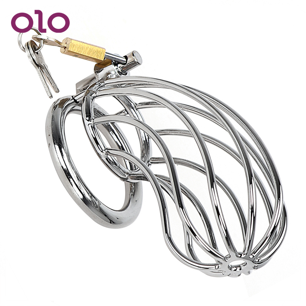OLO Sex Toys For Men Stainless Steel Lockable Penis Cock Ring Sleeve Lock Chastity Belt Male Chastity Device Cock Cage