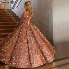 Serene Hill vestido de novia con lentejuelas brillantes y hombros descubiertos, Sexy, Borgoña, 2020