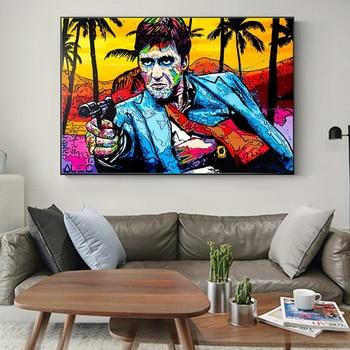 Retrato de grafiti, arte de la calle de Tony Montana, pintura en...