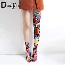DORATASIA Brand Print Graffi Over The Knee Boots Ladies Sexy Stretch Thigh High Boots Women 2019 Autumn High Heels Shoes Woman недорого