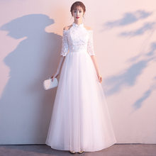 White Womens Halter Long Mesh Party Dress Elegant Backless Costume Dress Wedding Banquet Prom Maxi Gown Retro Vestido XS-3XL(China)