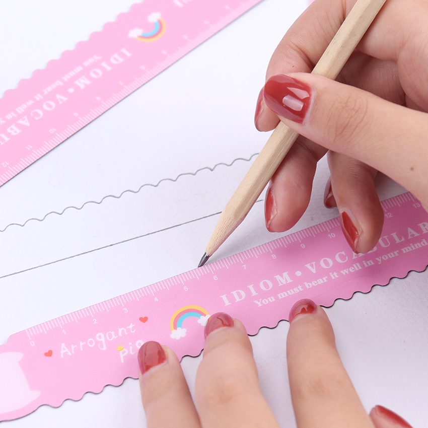 1PC Pink Student Flexible Soft Straight Rule Kawaii Piggy Bendable Magnetic Ruler Office School Supplies