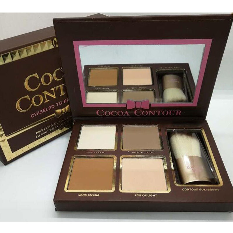 Makeup COCOA Contour Highlighters Palette Nude Color Face Concealer Chocolate Eyeshadow With Contour Buki Brush