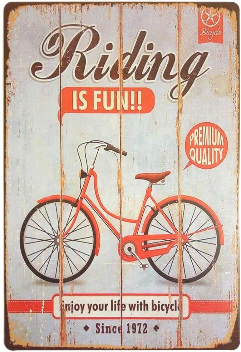 ERLOOD Riding is Fun Enjoy Your Life with Bicycle Retro Vintage Bar Metal Tin Sign Poster Style Wall Art Pub bar Decor 12 X8