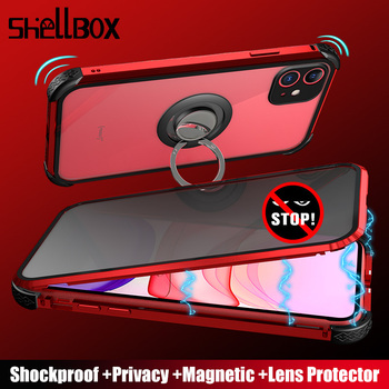 Shellbox Magnetic Privacy Protective Case for iPhone 11 Pro Max 7 8 Case Shockproof Anti-Spy Magnet Case for iPhone X XR Cover
