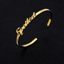 Personalized Custom Cuff Bangles for Women Rose Gold Silver Customized Nameplate Name Braclet & Bangle Stainless Steel Jewelry