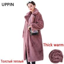 UPPIN/Зимняя женская Высококачественная шуба из искусственного меха кролика Роскошная длинная шуба Свободное пальто с отворотом толстые теплые женские плюшевые пальто больших размеров