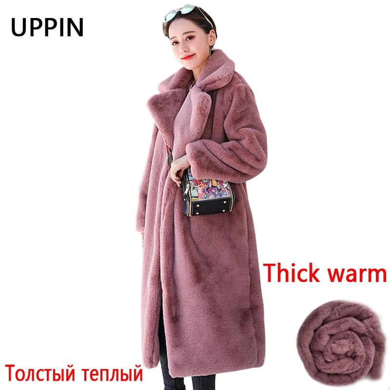 UPPIN/Зимняя женская Высококачественная шуба из искусственного меха кролика Роскошная длинная шуба Свободное пальто с отворотом толстые теплые женские плюшевые пальто больших размеров|Куртки из искусственного меха| | АлиЭкспресс