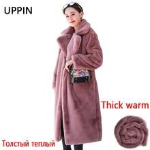 Manteau de luxe de fausse fourrure de lapin pour femme, blouson en peluche de qualité supérieure, à revers ample, épais et chaud, grande taille, hiver