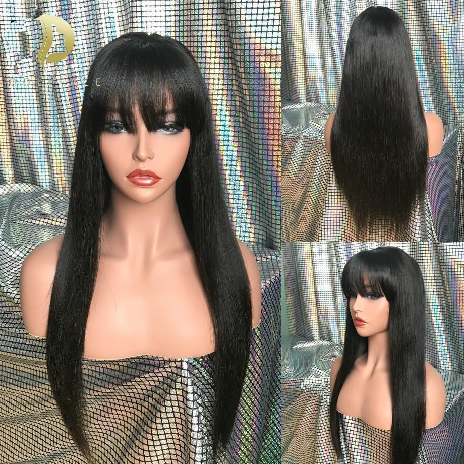 Парик с челкой короткий Боб человеческие волосы парики для черных женщин дешевые бразильские прямые черные 100% человеческие волосы 30 дюймов...