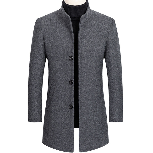 Thoshine Brand Autumn Winter 30% Wool Men Thick Coats Stand Collar Male Fashion Wool Blend Jackets Outerwear Smart Casual Trench 1