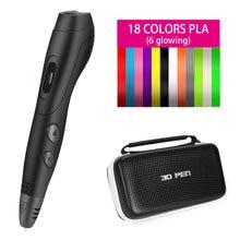 Smafox 3d caneta SMA-1plus com 18 cores 54 metro pla filamento, caneta de impressão profissional, 6 velocidade nível, temperatura ajustável
