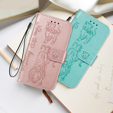 Embossed  Flip Case for iPhone X XS Max Wallet PU Leather Cute Tiger Cat For apple 6 6S 7 8 Plus iphone 2019