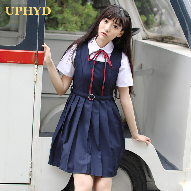 Preppy Style Japanese School Dress White Shirt Vest Dress 2pcs Middle High School Uniform Anime Costume Dresses
