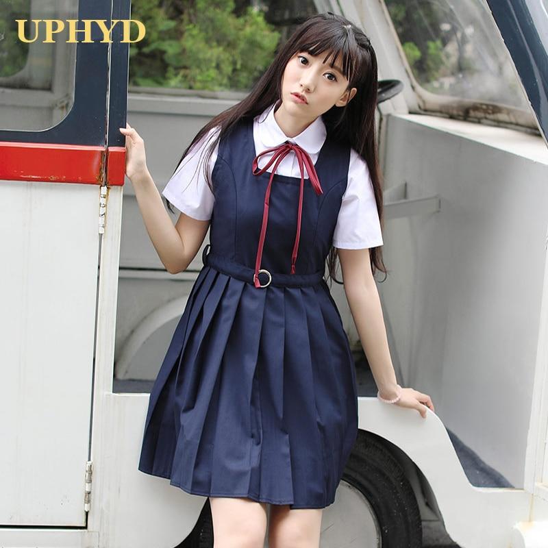 Preppy Style Japanese School Dress White Shirt Vest Dress 2pcs Middle High School Uniform Anime Costume Dresses