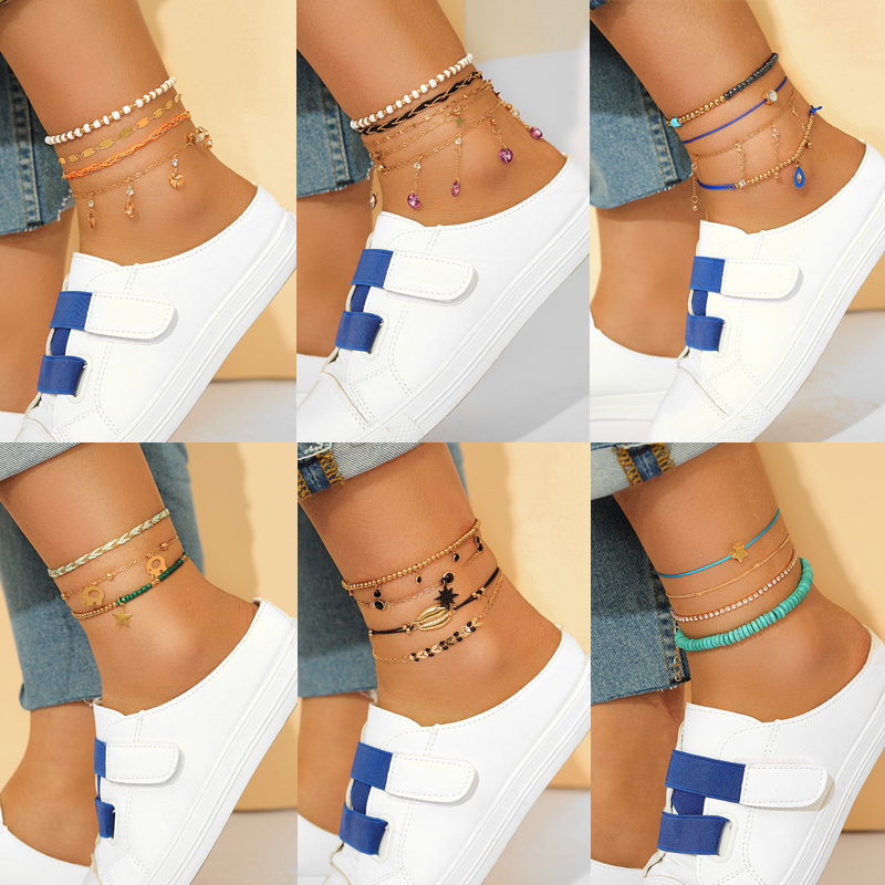Tocona Bohemian Colorful Rope Tassel Anklets for Women Cactus Eyes Star Rhinestone Bead Foot Chain Summer Jewelry Accessories