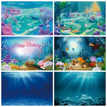 цена на Sea Ocean Seabed Underwater Coral Fish Castle Baby Shower Birthday Party Backdrop Photography Background For Photo Studio Shoot