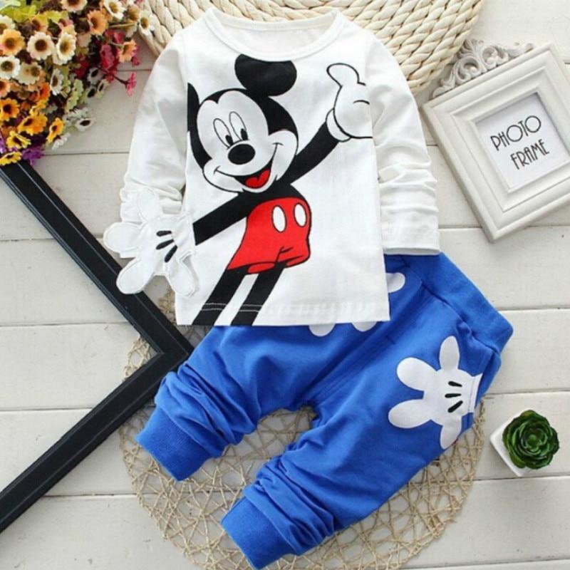 Disney kinder Sets Frühling und Herbst Baby Jungen und Mädchen 0-2Years kinder Sets Gestreifte Streifen kinder Kleidung 2PCS
