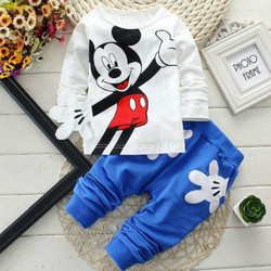 Disney conjuntos de crianças primavera e outono bebê meninos e meninas 0-2years crianças conjuntos listrado listra roupas infantis 2 peças