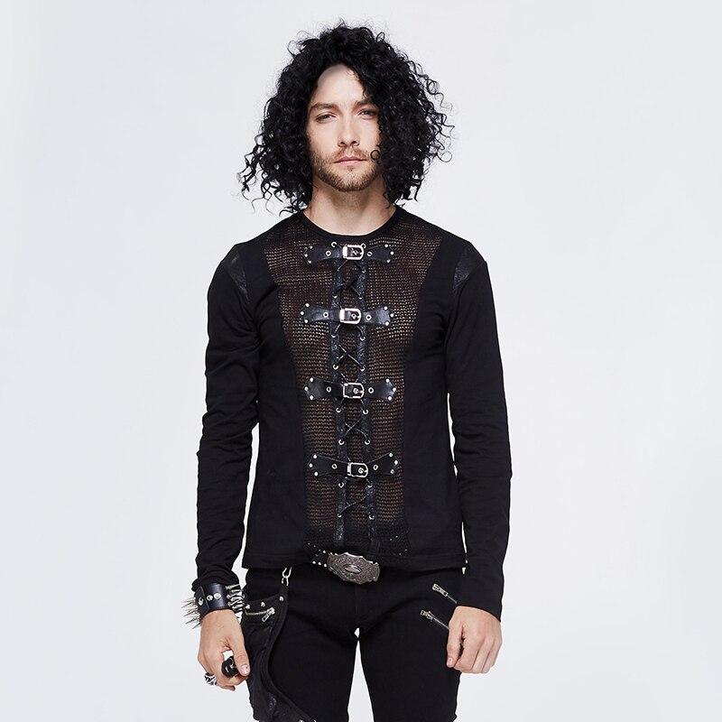 Devil Fashion Men Tops Hot Sale Rock Punk Buckle Mesh Long Sleeve T Shirt Men Vest