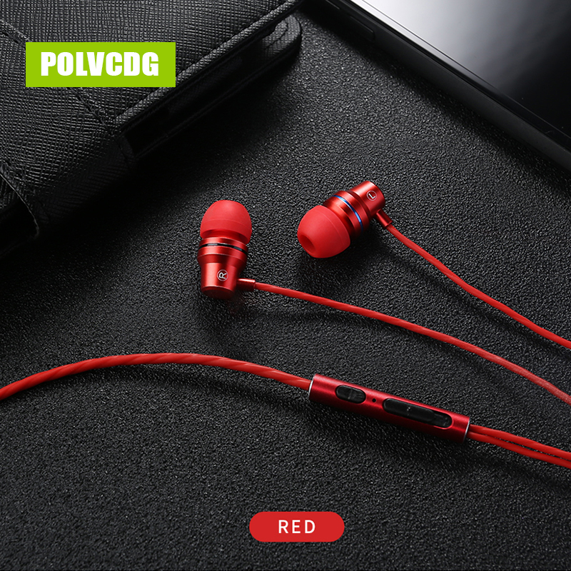 POLVCDG Red Music Mic 3.5mm HiFi Sports In-ear YH01 Earbuds With Wheat Line Control Sub Woofer Earphones
