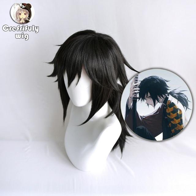 Anime Demon Slayer Kimetsu no Yaiba Tomioka Giyuu Black Ponytail Cosplay Wig Men Women Heat Resistant Synthetic Hair Wigs